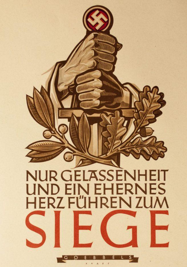 "WWII German NSDAP Wochenspruch (propaganda miniposter) – ""Siege"" (Goebbels)"