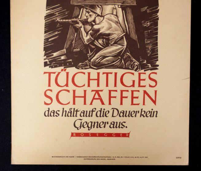 WWII German NSDAP Wochenspruch (propaganda miniposter) – Tüchtiges Schaffen