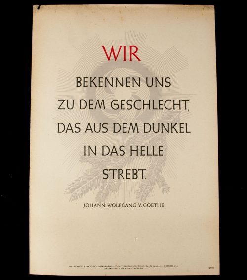 WWII German NSDAP Wochenspruch (propaganda miniposter) – Wir Bekennen Uns/Goethe