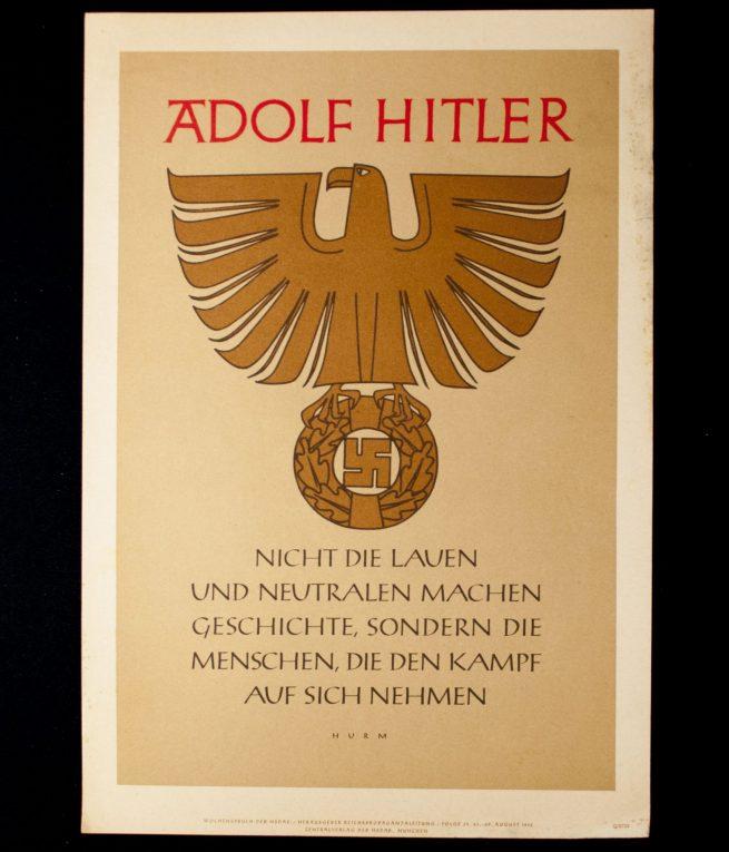 WWII German NSDAP Wochenspruch (propaganda miniposter) - Adolf Hitler