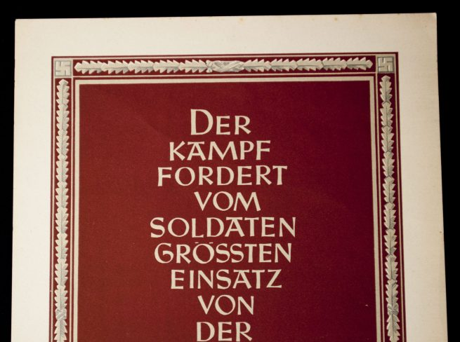 "WWII German NSDAP Wochenspruch (propaganda miniposter) - Adolf Hitler ""Der Kampf"""