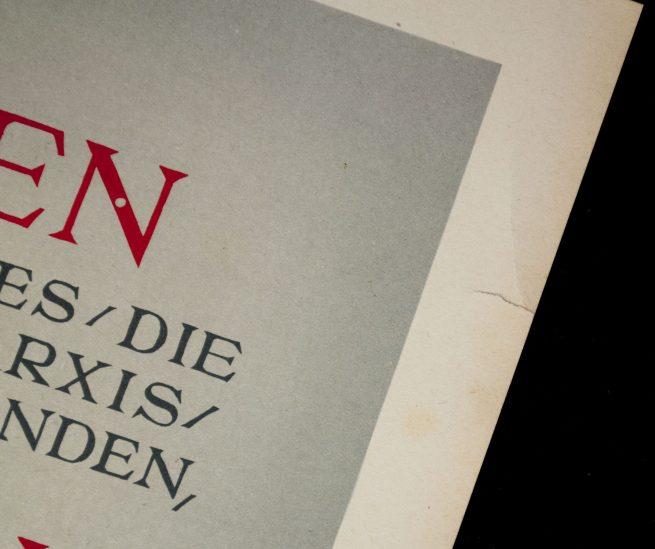 """WWII German NSDAP Wochenspruch (propaganda miniposter) - """"Juden"""" (Goebbels)"""