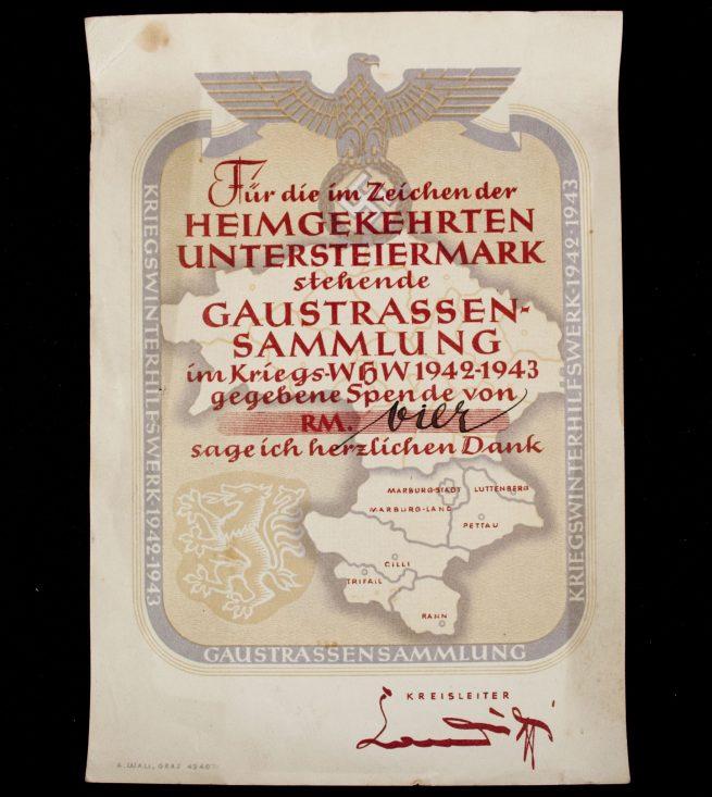 Winterhilfswerk (WHW) Gaustrassensammlung 1942/1943