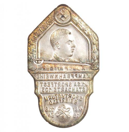 Adolf Hitler Kampfbahnweihe u.1.SA Sportfest Standarte 105 Sportv.Sturm Beierfeld 1934 abzeichen