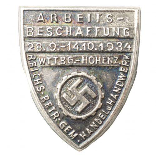 (DAF - Arbeitsfront) Arbeitsbeschaffung 28.9.-14.10.1934 Reichs-Betr.-Gem.handel u. handwerk WTTBG.- Hohenz.
