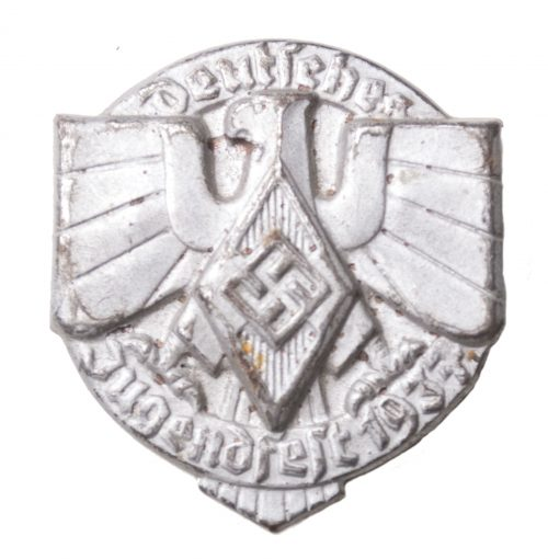 "Hitlerjugend - Deutsches Jugendfest 1937 ""closed"" abzeichen in silver colour (HJ badge)"