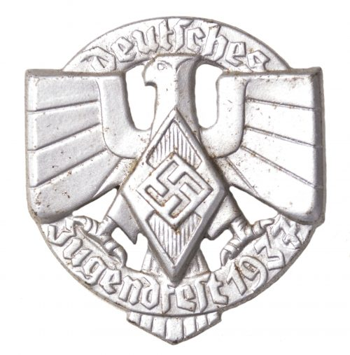 "Hitlerjugend - Deutsches Jugendfest 1937 ""overprint"" abzeichen in silver colour (HJ badge)"
