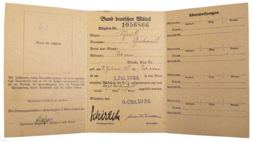 Hitlerjugend (HJ) / Bund Deutscher Mädel (BDM) Mitgliedsausweis