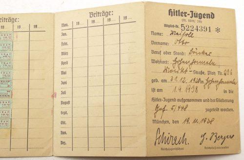 Hitlerjugend (HJ) Mitgliedsausweis der Hitlerjugend