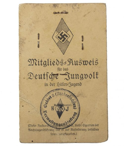 Hitlerjugend (HJ) Mitgliedsausweis für das Deutsche Jungvolk in der Hitlerjugend