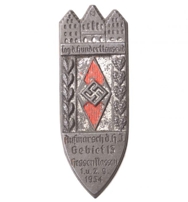 Hitlerjugend (HJ) - Tag der Hunderttausend Aufmarsch d.H.J. Gebier 13 Hessen Nassau 1934 (no needle)