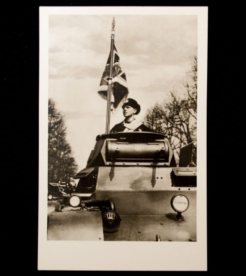 Postcard: Panzer with fahne (Flag)
