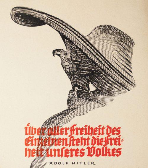 WWII German NSDAP Wochenspruch (propaganda miniposter) – Adolf Hitler