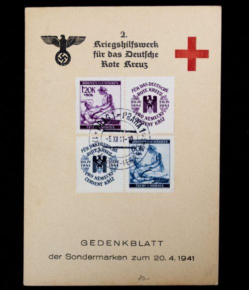 2. Kriegshilfswerk für das Deutsche Rote Kreuz (DRK) Gedenkblatt der Sondermarken 1941