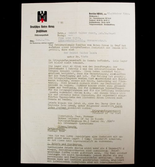 "DRK Deutsche Rote Kreuz letter ""Prisoner of War"" (1940)"