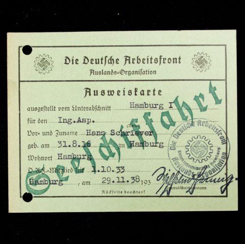 Die Deutsche Arbeitsfront (DAF) Auslands-Organisation Ausweiskarte Seeschiffahrt (1938)