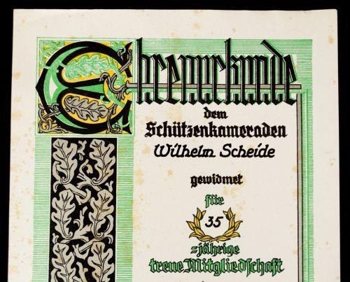 Ehrenurkunde Deutschen Schützenverband (1941)