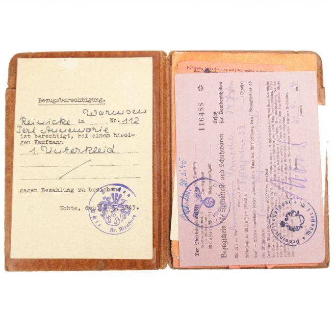 German WWII Reichskleiderkarte map with documents
