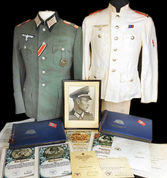 Herbert Werle group with two tunics, 2 photoalbums and many citations!