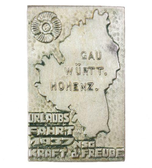 Kraft durch Freude (KDF) Gau Würtemberg Hohenzöllern Urlaubsfahrt 1937