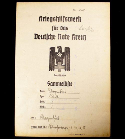 Kriegshilfswerk für das Deutsche Rote Kreuz (DRK) - Gau Kärnten Sammelliste (1945)