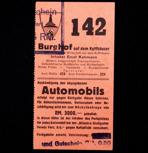 Kyffhäuserbund Monument (Mahnmal) ticket mid 1930's
