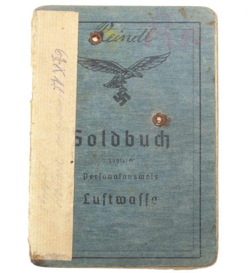 Luftwaffe Soldbuch Funker Rekruten Ausbildungskompanie Breslau-Klettendorf (Luftwaffe Lazarett Amsterdam!)