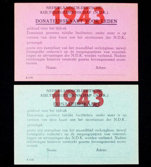 NSB / N.D.K Nederlandsch Duitse Kultuurgemeenschap Donateurskaarten