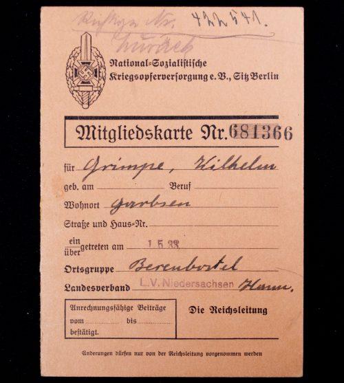 National Sozialistische Kriegsopfer Versorgung (NSKOV) Mitgliedskarte (1933)