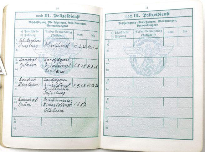 Polizei Dienstpass (with EK2, FEK, Polizei Dienstuszeichung + Westwall entry) + Dienstausweiss