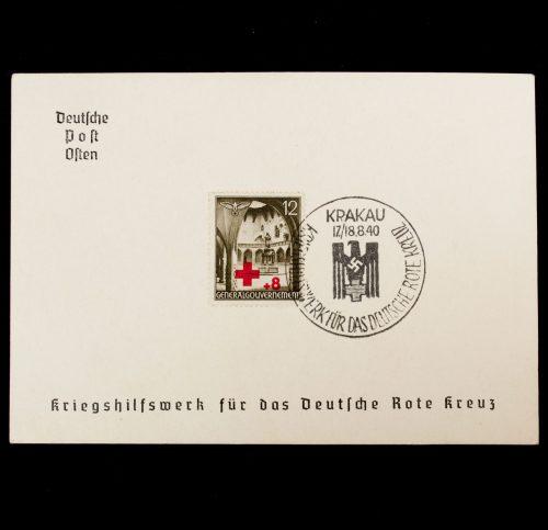 Postcard Deutsche Post Osten Kriegshilfswerk für das Deutsche Rote Kreuz Gedenkblatt Krakau