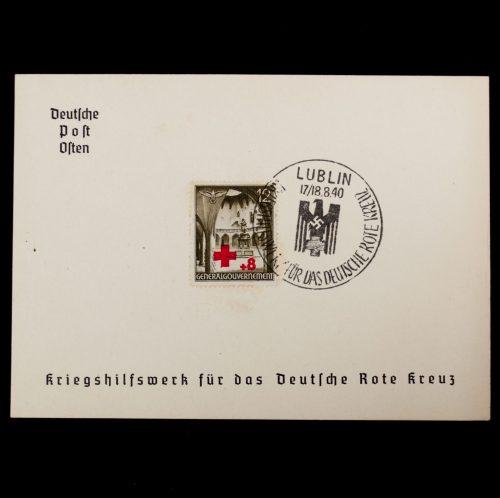 Postcard Deutsche Post Osten Kriegshilfswerk für das Deutsche Rote Kreuz Gedenkblatt Lublin