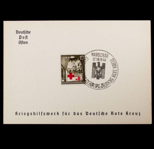 Postcard Deutsche Post Osten Kriegshilfswerk für das Deutsche Rote Kreuz Gedenkblatt Warchau