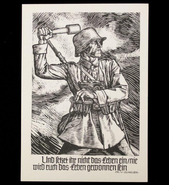 Postcard: Hilfswerk des Deutschen Roten Kreuzes (DRK) - German Soldier (Schiller saying)