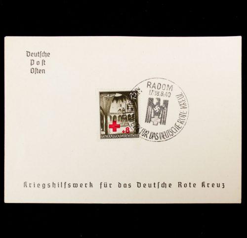 """Postcard: Deutsche Post Osten Kriegshilfswerk für das Deutsche Rote Kreuz Gedenkblatt """"Radom"""""""