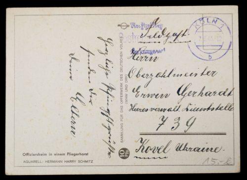 Postcard: Offiziersheim in einem Fliegerhorst - Sammlung für das Opferwerk des Deutschen Volkes (WHW und DRK)