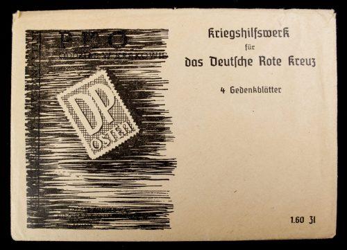 Postcards: (DRK) Enveloppe + postcards: Kriegshilfswerk für das Deutsche Rote Kreuz 4 Gedenkblätter
