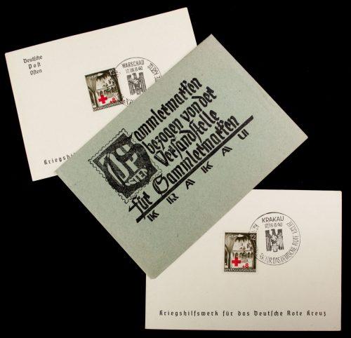 Postcards: (DRK) Versandstelle Krakau Enveloppe + postcards (DRK): Kriegshilfswerk für das Deutsche Rote Kreuz