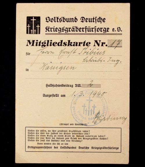 Volksbund Deutsche Kriegsgräberfürsorge E.V. Mitgliedskarte (1940)