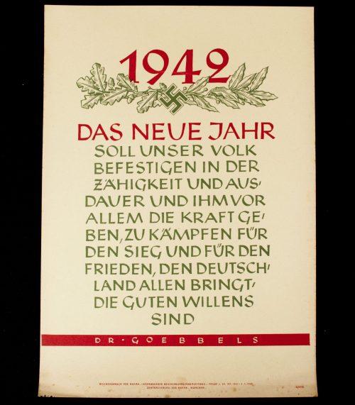 WWII German NSDAP Wochenspruch (propaganda miniposter) – Goebbels