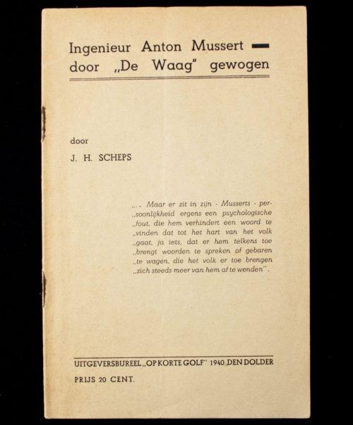 """(Anti-NSB) Ingenieur Anton Mussert door """"de Waag"""" gewogen (1940)"""