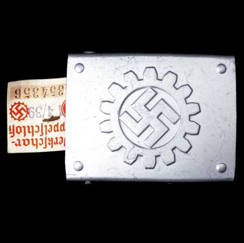 Deutsche Arbeitsfront (DAF) Werkschar belt buckle, unworn and with RZM tag - Assmann