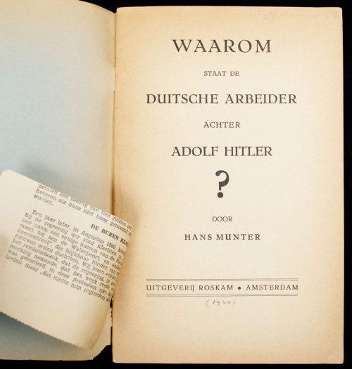 (NSB) Hans Munter - Waarom staat de Duitsche arbeider achter Adolf Hitler? (1940)