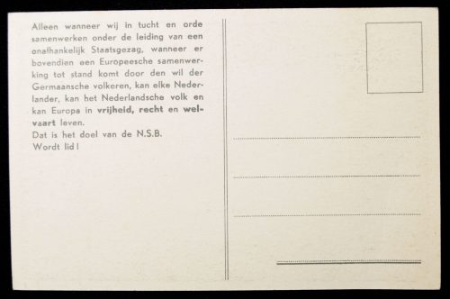 "NSB Postcard ""Met Mussert Hou-Zee"" + 2 matching closing stamps"
