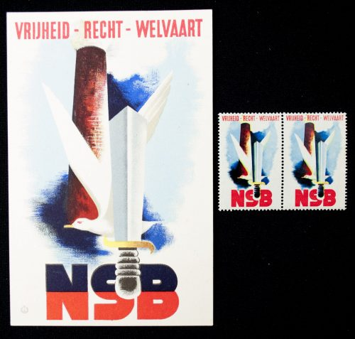 "NSB Postcard ""Vrijheid Recht Welvaart"" + 2 matching closing stamps"