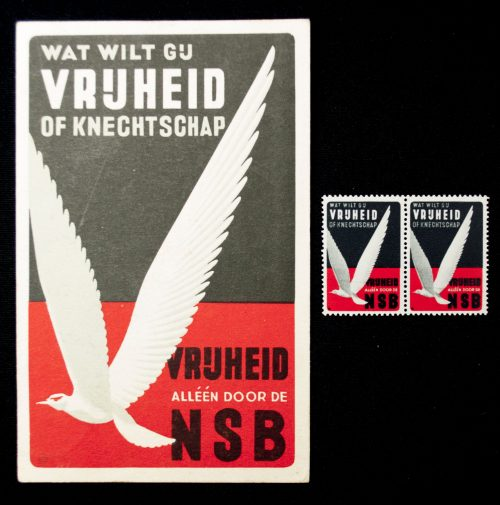 "NSB Postcard ""Vrijheid of knechtschap"" + 2 matching closing stamps"