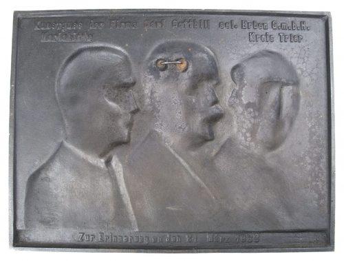 Plaque: Fridericus Rex. v. Bismarck. Adolf Hitler (1933)