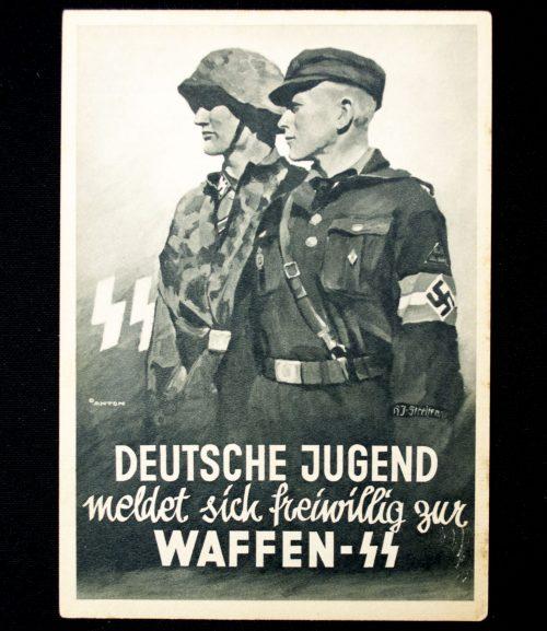 Postcard: Waffen SS - Deutsche Jugend meldet sich freiwillig zur Waffen-SS (by artist Anton)