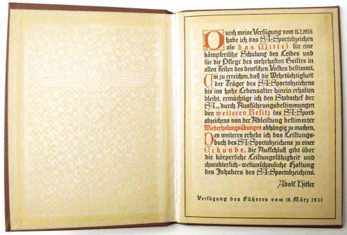 SA Sportabzeichen bronze Urkunde buch