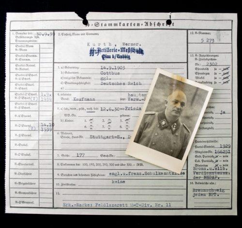 SS-Stammkarten Abschrift + Photo